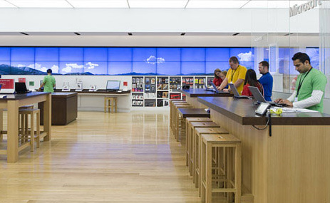 inside a Microsoft retail location