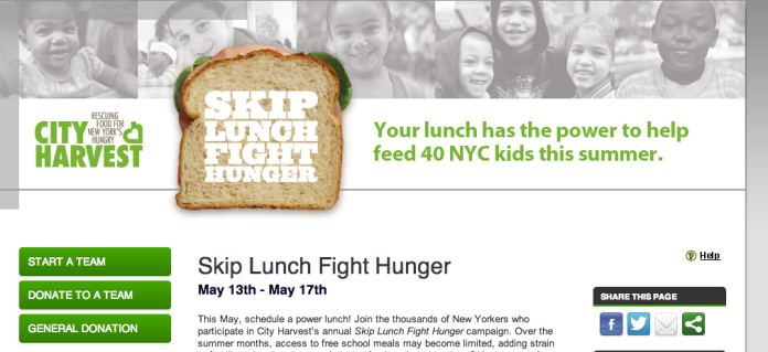 """Skip Lunch Fight Hunger"" campaign, City Harvest"