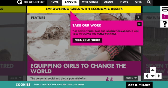 Girl Effect's website- it has  an entirely separate page to show people what to do with the information